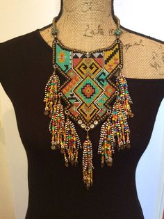 Beaded Bib Necklace with Tassels Tribal Necklace by perlinibella