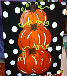 These are all 16 x 20 in. canvases each with a pumpkin theme! Swipe for more