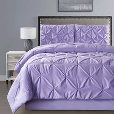 4 Pieces Double-Needle Stitch Goose Down Alternative Pinch Pleat Solid LILAC PURPLE Comforter Set QUEEN Size Bedding – Hypoallergenic, Plush Siliconized Fiberfill