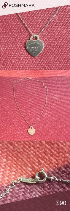 """Tiffany Heart tag necklace Authentic Tiffany """"Return to Tiffany& Co."""" heart tag necklace. Chain is 18"""" Tiffany & Co. Jewelry Necklaces"""