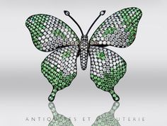 18k White gold Diamond and Demantoid Garnet/Tsavorite Butterfly Pin Brooch