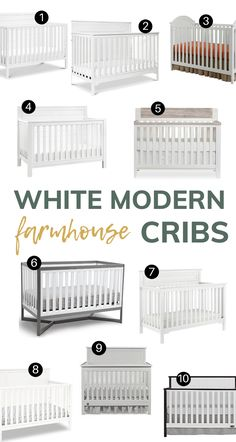 These 10 white cribs bring you all the essentials you need for your modern farmhouse nursery (boy or girl) - clean lines, decorative accents with great contrast and, of course, a touch of shiplap. #farmhouse #cribs #whitecribs #farmhousestyle Baby Nursery Furniture, Nursery Boy, Farmhouse Cribs, White Cribs, Diy Crib, Modern Crib, Modern Farmhouse Style, Magnolia Homes, Nursery Inspiration