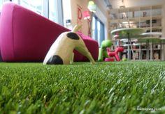 Artificial grass interior. Man Bites Dog PR in Brighton. Blades installation.