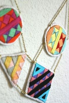 Embroidered necklace by SpinThread Embroidery Art, Cross Stitch Embroidery, Embroidery Patterns, Geometric Embroidery, Embroidery Jewelry, Textile Jewelry, Fabric Jewelry, Jewellery, Basic Geometry