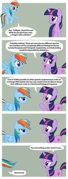 """What pinner said: I bet the punchline was """"Scootaloo."""" Me: isn't it a cockatrice. Please tell me if I'm correct."""