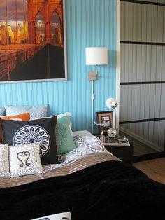 painted beadboard--beautiful texture, and nice contrasts with trim.  Thinking orange for the house...