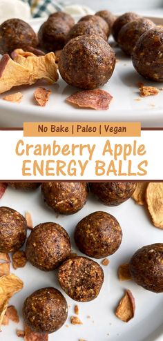 This healthy cranberry energy bites recipe is made with dried cranberries and apples, pecans and walnuts. These bliss balls are easy to make, no bake, Paleo, Vegan and even Whole30 friendly. #energyballs #cranberryapple #cranberryballs #proteinballs #paleo #vegan #whole30 Paleo Energy Bites, Healthy Energy Ball Recipe, Paleo Vegan, Vegan Baking, Vegan Snacks, Eggless Recipes, Vegan Recipes, Whole30 Recipes, Snack Recipes