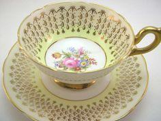 Antique Foley Tea cup and saucer set, Bone , gold and yellow, Bouquet of… Cup And Saucer Set, Tea Cup Saucer, Yellow Tea Cups, Tea And Crumpets, Antique Tea Cups, My Cup Of Tea, Tea Service, Tea Parties, High Tea