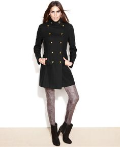 GUESS Funnel-Collar Belted Military Coat - Coats - Women - Macy's ...