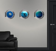 "12"" Port Scape Instant Sea Window SHARK Combo Pack 3 x Wall Decals Porthole Sticker Mural Graphic Home Kids Game Room Art Decor NEW !! on Etsy, $53.99"