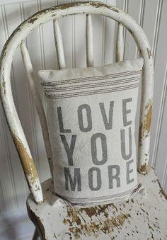 Adorable pillow - 'love you more'