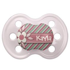 Baby Name DIY Its a Girl Cute Pink Daisy Red Green Pacifiers #baby #custompacifiers #diy