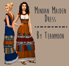 "teanmoon: "" Minoan Maiden Dress - By Teanmoon This dress is inspired by the beautiful clothes of ancient Minoan women. The dress is meant to convey a sense of power and divinity that is uniquely female. • For Teen-Elder Females • Base Game..."