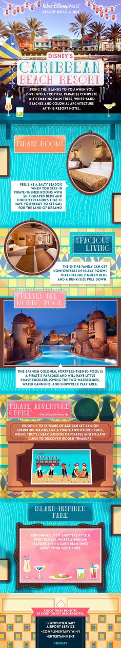 Bring the islands to your family vacation when you dive into a tropical paradise complete with swaying palm trees, white-sand beaches, and colonial architecture at Disney's Caribbean Beach Resort at Walt Disney World! Request your free quote today! Disney World Hotels, Disney Resort Hotels, Walt Disney World Vacations, Disney Trips, Disney Travel, Caribbean Beach Resort, Beach Resorts, Disney Parks, Disney 2017