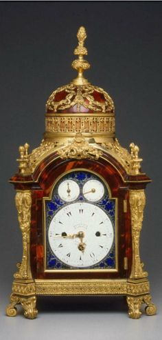 Bracket Clock, English (London) about 1760–80. Made by Markwick-Markham partnership (about 1725–about 1805) DIMENSIONS, 45.8 x 24.2 x 17.4 cm (18 1/16 x 9 1/2 x 6 7/8 in.). MEDIUM OR TECHNIQUE Tortoiseshell veneered on oak and mahogany; gilt-bronze mounts; silvered dial with enameled decoration. Museum of Fine Arts, Boston Mantel Shelf, Mantel Clocks, Old Clocks, Vintage Clocks, Unusual Clocks, Retro Clock, Modern Clock, Antique Watches, Large Clock