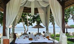 Beautiful Bali - There's not much better than lying on your thatched Bali daybed overlooking Nusa Dua beach.