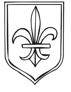 This medieval coloring page features a coat of arms with a Fleur-De-Lis. Kids interested in medieval times will love coloring this page. Super Coloring Pages, Truck Coloring Pages, Coloring Book Pages, Printable Coloring Pages, Coloring Pages For Kids, Coloring Sheets, Shield Drawing, Medieval Shields, Mickey Mouse Coloring Pages