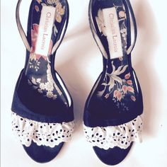 Christian Lacroix Eyelet & Crystal Linen Heels Gorgeous Christian Lacroix Eyelet and Crystal Black Linen Sling Backs. Super Cute and Flirty. Used Condition. Some Stains on The White Eyelet Fabric. A Few Scuff Mark where the Tip Meets The Heel. Sold As Is. They Are Awesome. Made in Italy. Christian Lacroix Shoes Heels