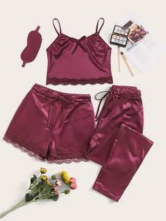 To find out about the Floral Lace Satin Cami PJ Set With Pants & Eye Mask at SHEIN, part of our latest Pajama Sets ready to shop online today! Cute Sleepwear, Lingerie Sleepwear, Nightwear, Cozy Pajamas, Satin Pajamas, Women's Pajamas, Babydoll, Satin Cami, Satin Pj Set