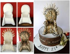 Game of Thrones cake Bolo Game Of Thrones, Game Of Thrones Chair, Game Of Thrones Birthday, Game Of Thrones Party, Cake Topper Tutorial, Fondant Tutorial, Cake Decorating Techniques, Cake Decorating Tutorials, Fondant Toppers