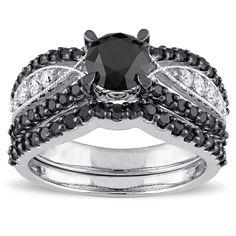 Miadora Signature Collection 10k White Gold 2ct TDW Black and White Diamond Bridal Ring Set (G-H, I2-I3) (Size 5), Women's