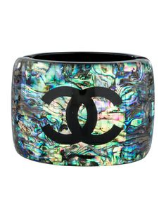 Iridescent Elegance: Psychedelic Chanel Cuff.
