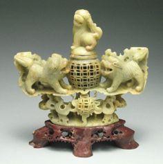 Vintage Chinese Carved Foo Dogs Soapstone Incense Burner