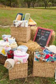 Set out blankets for guests to keep them warm.