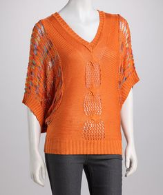 Take a look at this Orange V-Neck Dolman Top by High Secret on #zulily today! $35.99, regular 79.00