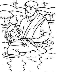 Jesus is Baptized Bible Coloring Page  WhatsintheBiblecom