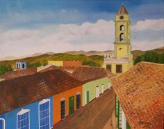 """Oil painting titled """"Trinidad, Cuba I"""", done on a 16"""" x 20"""" x 1.5"""" canvas.  SOLD"""