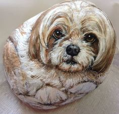 This is a sample of a recent dog portrait on a rock I did for a client. She sent her photos and I created this as a custom made-to-order piece. You can see one of the photos I used as reference. I make the entire rock become the animal in 3D. Different sizing and pricing is available. This one is approximately 7 around. If the rock is not self-standing, a clear plastic stand is included at no charge. Rocks are sealed with a varnish for protection, with pets name and artist signature on…