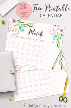 FREE PRINTABLE PLANNER - 2017 March calendar with beautiful watercolor floral design