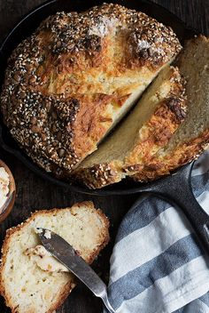 Seeded Asiago Rosemary Soda Bread with Chili Butter - Absolutely delicious savory Seeded Asiago Rosemary Soda Bread, served with a chili flake, garlic and lemon butter. A perfect side for your stews! #sodabread #StPatricksDay #savorysodabread via @SeasonsSuppers