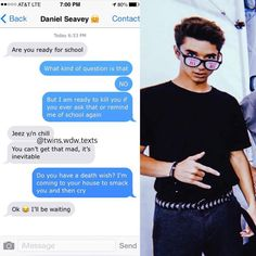 """Text Imagines DM For Your Own on Instagram: """"Hopefully with school starting I can still post daily #wdw #wdwimagines #whydontwe #whydontweimagines #whydontwetexts #danielseavey…� Text Imagines, Cute Imagines, Why Dont We Imagines, Cute Relationship Texts, Cute Relationships, Why Dont We Band, Funny Text Messages, Band Memes, Perfect Man"""