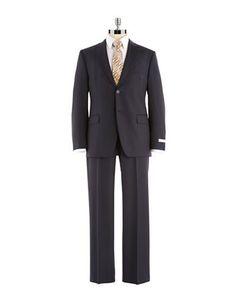 Black Brown 1826 Modern Fit Pinstrip Pants Suit Men's Black 40 Long
