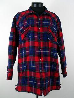 Ely Cattleman 2XL Plaid Pearl Snap Shirt Jacket Red Blue Cotton  #ElyCattleman #BasicJacket