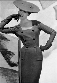 1955 Patricia in gray supple flannel sheath by Jacques Fath, photo by Georges Saad