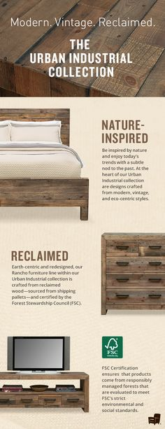 Be brave and let wood inspire your home. From the bedroom, to the living room, wood centric furniture adds a great texture to your space.