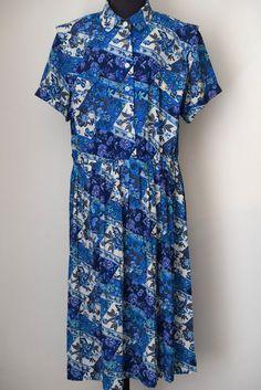 LESLEY FAY Vintage Short Sleeve Pleated Floral Print Dress @ Size 18  #LesleyFay #Summerdress #Casual