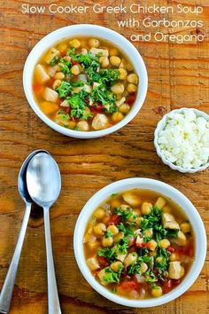 CrockPot Greek Chicken Soup with Garbanzos and Oregano; this healthy soup can cook all day while you're at work!  [from Kalyn's Kitchen] #SlowCooker  #CrockPot