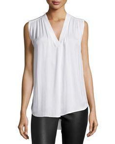 Ruched Shoulder V-Neck Blouse by Vince at Neiman Marcus.