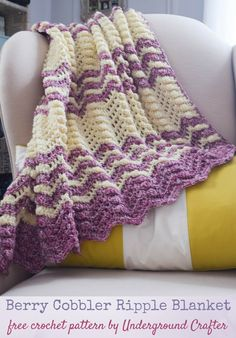 Free #crochet pattern: Berry Cobbler Ripple Blanket in Cascade 220 Superwash Effects and 220 Superwash yarns by Underground Crafter | This textured ripple pattern is a sweet treat, just like its namesake dessert.