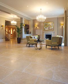 Hamlet Limestone in an etched finish. The etching, which increases the non-slip properties of the stone, also gives it a more neutral colour. Greek Pattern, French Pattern, Hallway Inspiration, Limestone Tile, Natural Stone Flooring, Neutral Colors, Egyptian, It Is Finished, Living Room