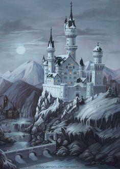 Surreal matte painting of the Ming Dynasty Dark Fantasy, Fantasy Concept Art, Fantasy City, Fantasy Castle, Fantasy Places, Fantasy Artwork, Fantasy World, Fantasy Art Landscapes, Fantasy Landscape
