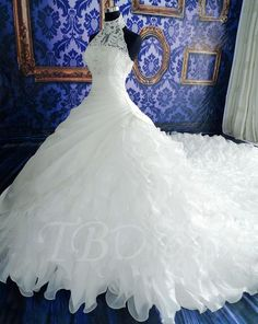 Tbdress.com offers high quality Tiered Cathedral Halter Organza Beaded White Lace Wedding Dress Latest Wedding Dresses unit price of $ 284.04.