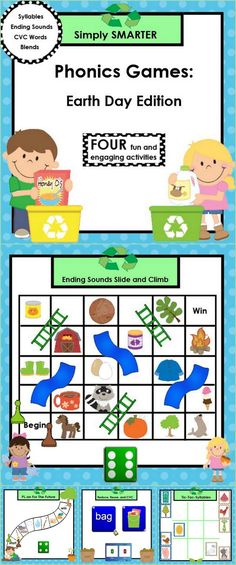 Are you looking for NO PREP literacy games for preschool, kindergarten, or first grade?  Then download this product and go!  Enjoy this SMARTBOARD resource which is comprised of FOUR different EARTH DAY themed phonics games that can be used in your classroom for whole group instruction or small group work!  Children will work with beginning blends, ending sounds, CVC words, and syllables.