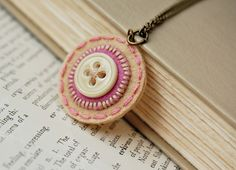 Penny Rug Button Necklace in Rose by SewSweetStitches on Etsy