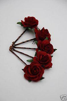 6 BIG BURGUNDY RED FLOWER HAIR GRIPS/PINS WEDDING/PROM