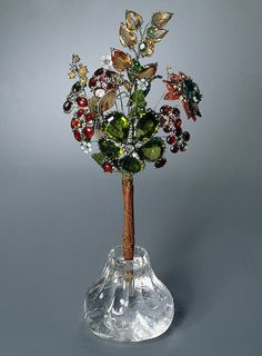 Bouquet of Flowers Gold, silver, precious and decorative stones, crystal; cut and polished. Bouquet: 11.7x23 cm, vase: 5.5x8.5 cm Pauzie, Jeremie. Russia. St Petersburg. 1740s  The State Hermitage Museum: Digital Collection -- Powered by IBM